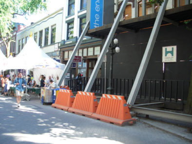 Plastic Barricades Outdoor Market with pedestrians Premier Plastics