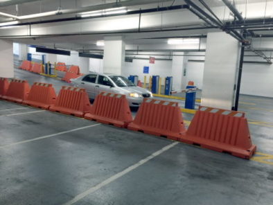 Barricades in underground garage
